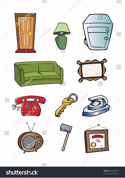 Objects Cartoon Household Random Illustration Vector Shutterstock