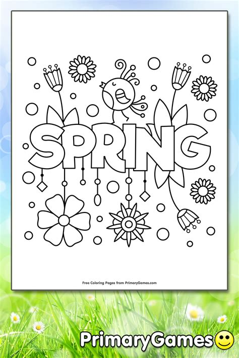 spring coloring page printable spring coloring  primarygames