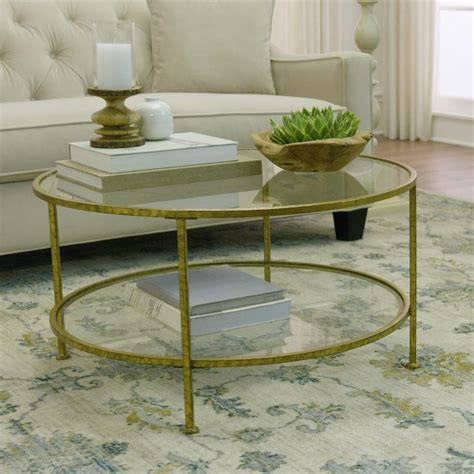 Get the best deals on glass round coffee tables. Aged Gold Coffee Table Tempered Glass Top Metal Frame ...