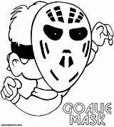 Coloring Goalie Mask sketch template