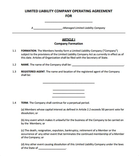 sample operating agreement templates   ms