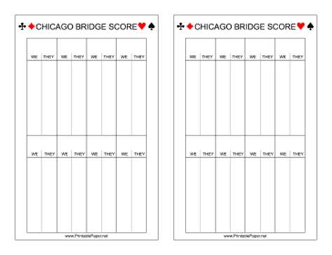 Printable Bridge Score Sheet Template Printable Chicago Bridge Scoresheet