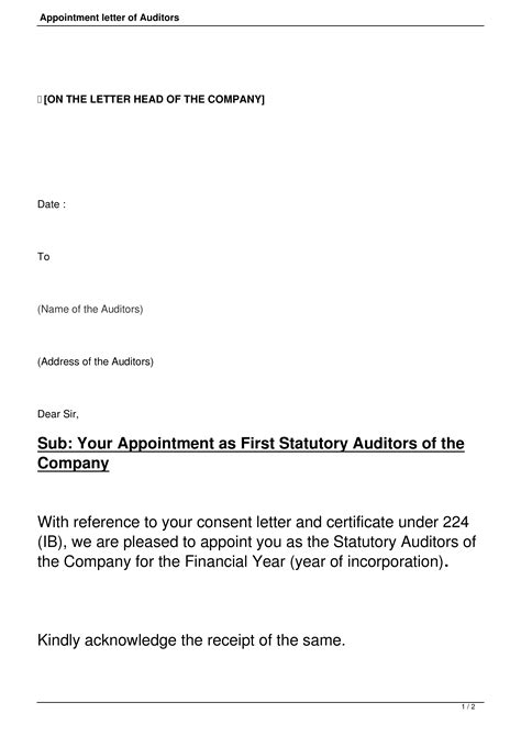 format  appointment letter   auditor templates