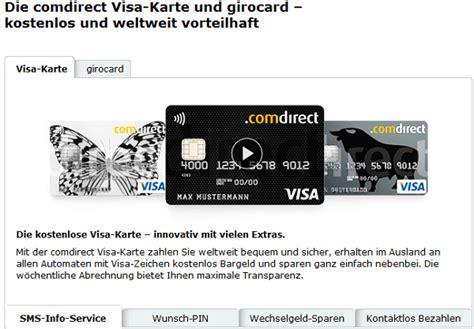 comdirect visa karte kreditkarte kostenlos im vergleich