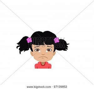 Cartoon Sad Girl Face Illustration Image - cg9p7139852c