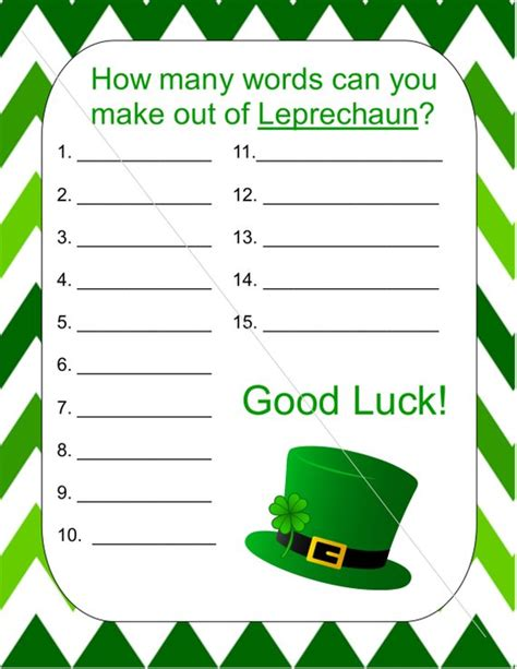 How Many Words Can You Make Out Of Leprechaun Game