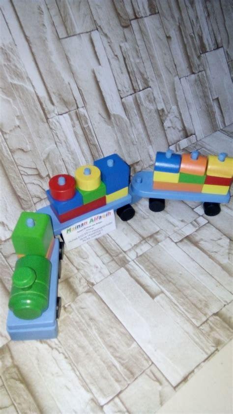 jual mainan anak mainan edukasi anak mainan kayu kereta balok geometri warna di lapak
