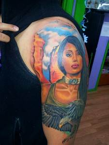 Eagle native american girl tattoo   Tattoos by Adrian ...