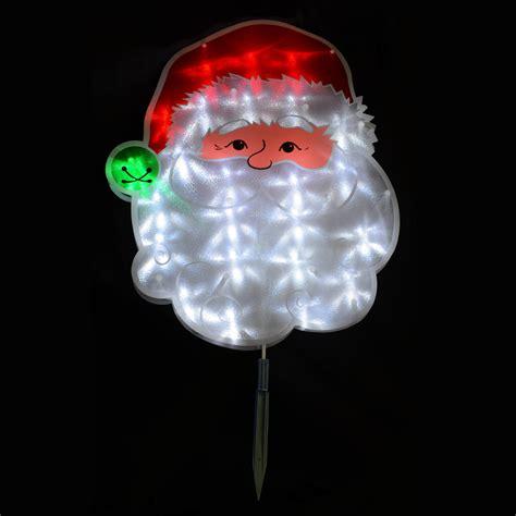 outdoor light up santa 38 x 45cm pvc santa face garden stake outdoor christmas