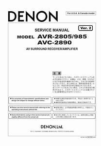 Denon Avr 2805 985 Avc 2890 Receiver  U0026 Amplifier Service