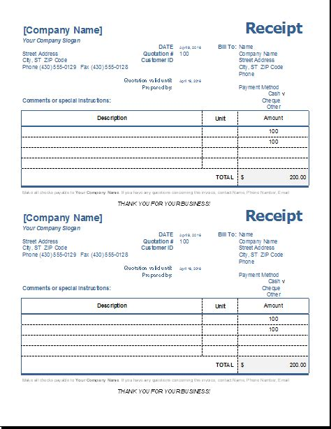 ms excel general receipt template word excel templates