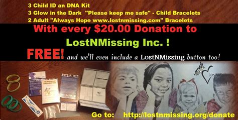 Free Dna / Id Kits, Bracelets W .00 Donation