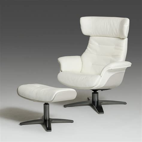 modern white and grey genuine leather reclining chair and
