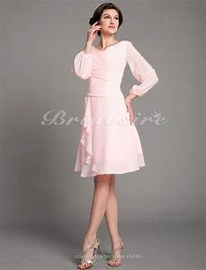 bridesire a line chiffon knee length v neck mother of With robe maman mariée