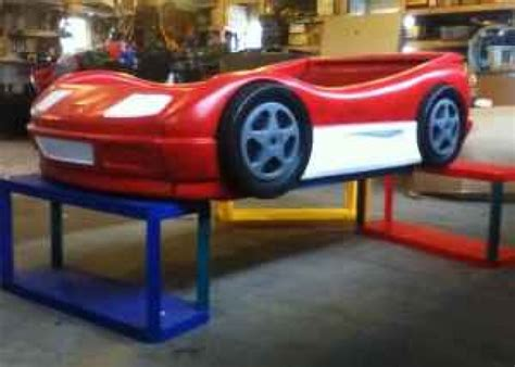 Tikes Lightning Mcqueen Toddler Bed by Blue Tikes Car Bed Painted To Look Like Lightning