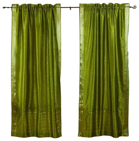 olive green rod pocket sheer sari curtain drape panel