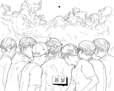 Bts Colouring Book Page By @peacheschild