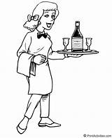 Waitress Coloring Serving Jobs Drinks Seems Happy sketch template