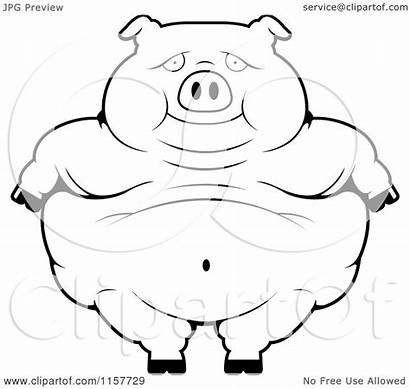 Pig Standing Cartoon Obese Clipart Coloring Outlined