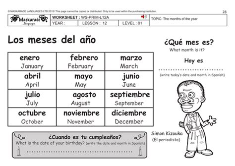 spanish ks2 level 1 months of the year happy birthday lulu by maskaradelanguages teaching