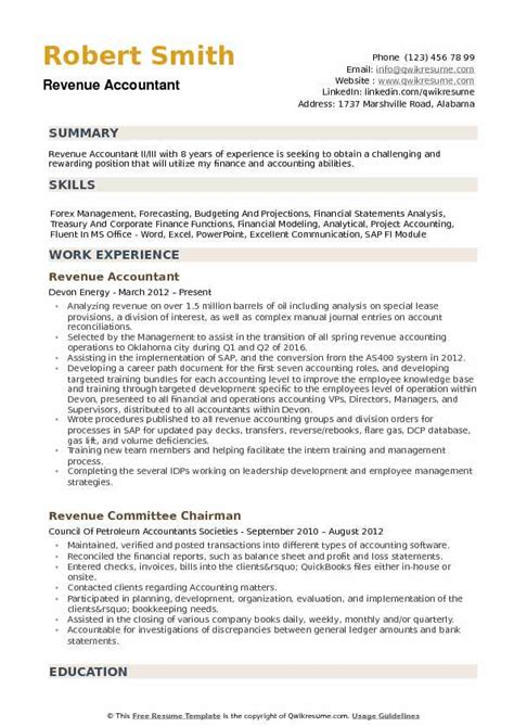 Accountant Resume by Revenue Accountant Resume Sles Qwikresume