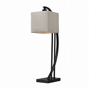 Table, Lamp, In, Bronze, With, Square, Shade