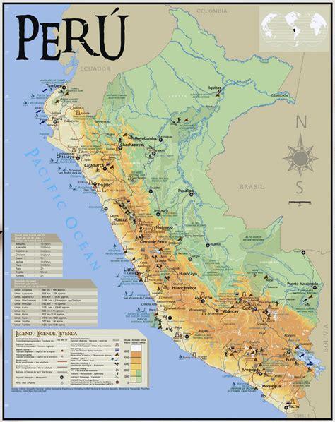 large tourist map  peru peru south america