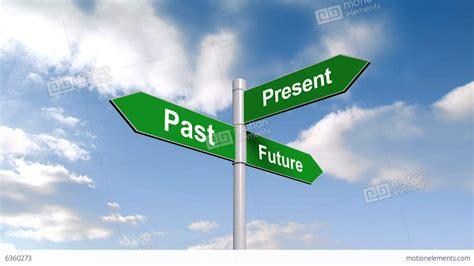 Past Present Future Signpost Against Blue Sky Stock