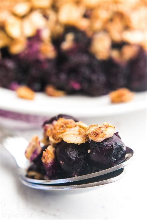 A portion of the blueberries is cooked with sugar and cornstarch to form a blueberry glaze that binds the filling. The Ultimate Healthy Blueberry Crumble {Recipe Video!} | Amy's Healthy Baking