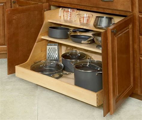 kitchen counter storage cabinet pot and pan organizer home design ideas 3442