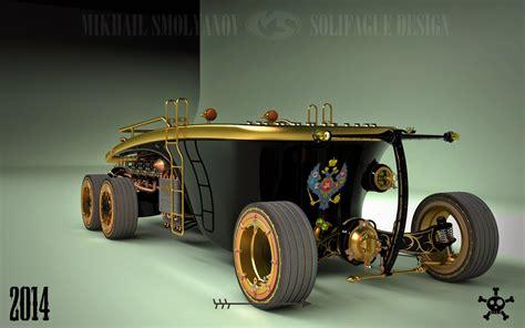 steampunk  wheel land yacht   car   future