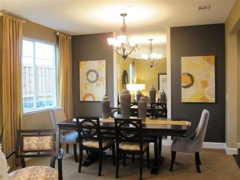 Gray Accent Wall Dining Room Transitional With 6 Seat