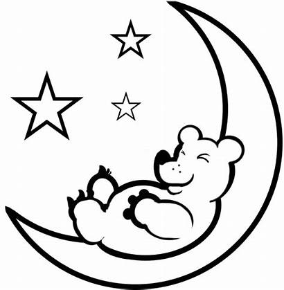 Moon Coloring Pages Printable Sheet Crescent Bear