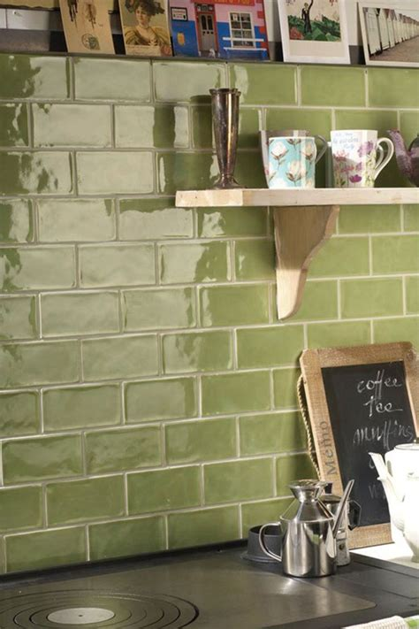 rustic olive green wall tiles perfect  kitchen splash