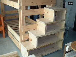 Bunk bed with stairs, which could be used for storage. I ...