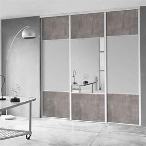 Porte De Placard Coulissante : porte de placard coulissante effet b ton miroir spaceo l ~ Edinachiropracticcenter.com Idées de Décoration