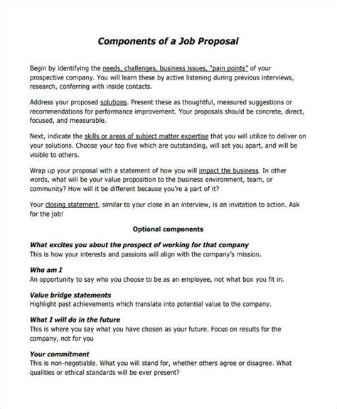 proposal templates  examples  word pages