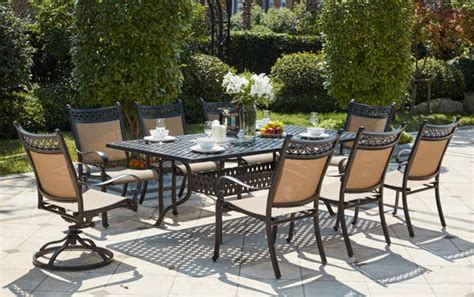 patio furniture dining set cast aluminum sling chairs 92