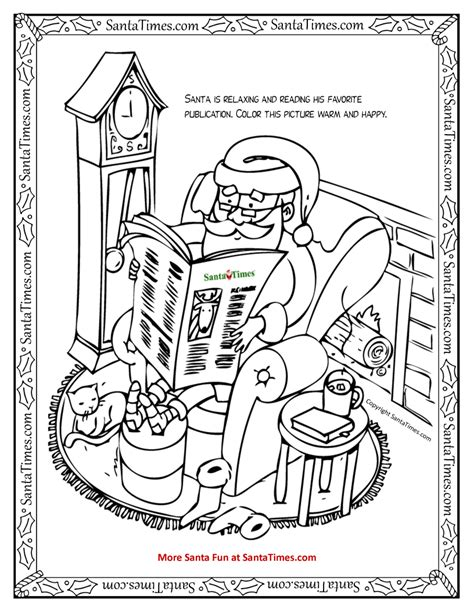 reading santa coloring page printout