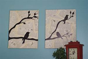 crafting on a budget diy bird canvas wall art With homemade wall art