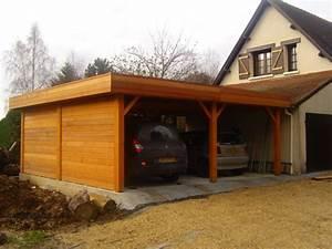 Garage En Bois Toit Plat : r alisations garages en bois sur mesure sodibat ~ Dailycaller-alerts.com Idées de Décoration