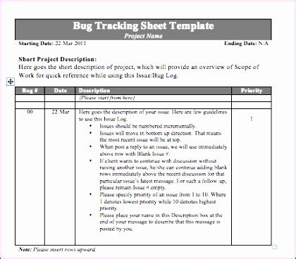 bug report template excel exceltemplates exceltemplates