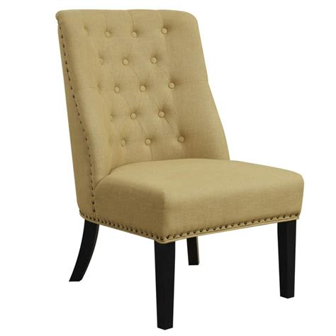 yellow fabric button tufted bronze nailhead accent chair