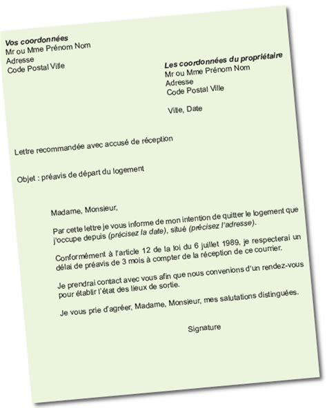 modele lettre préavis 1 mois logement modele certificat preavis 1 mois document