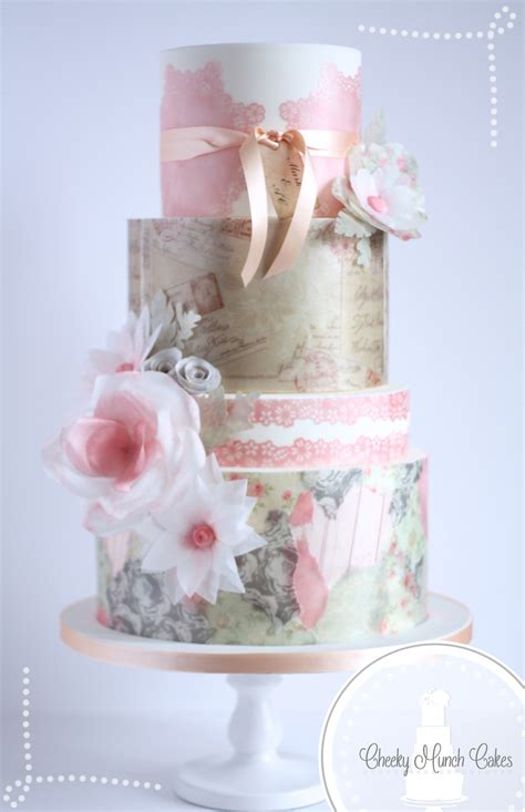 vintage wafer paper cake    hey  cupcakes