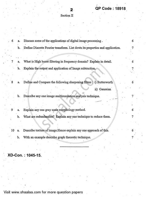 Question Paper - Artificial Intelligence and Image