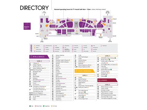 changi airport singapore map sin printable terminal