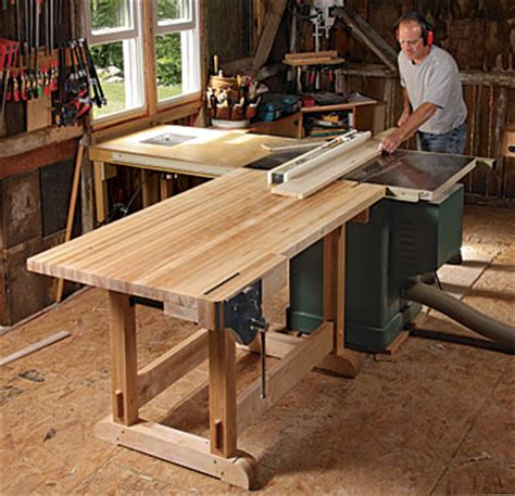 outfeed table doubles   workbench finewoodworking