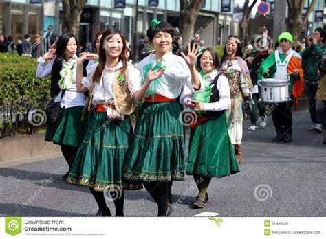 japanese women parade  st patricks day editorial stock
