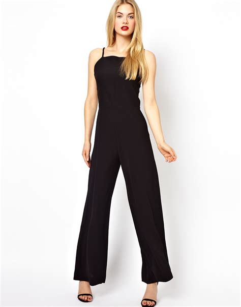 black wide leg jumpsuit aq aq jumpsuit with high neck and wide leg in black